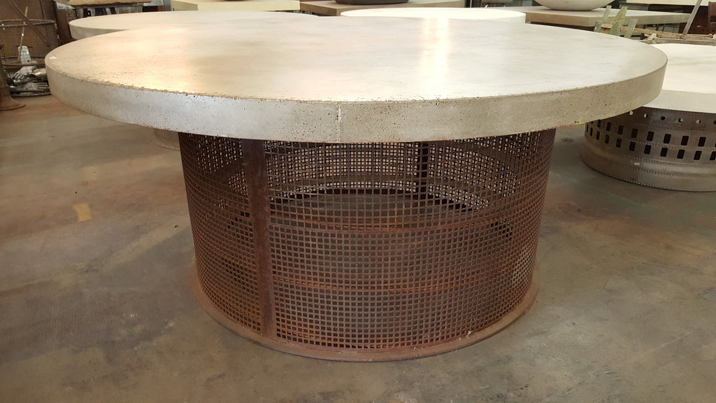 "Table, Concrete 72"" diam top with steel round stylized base"