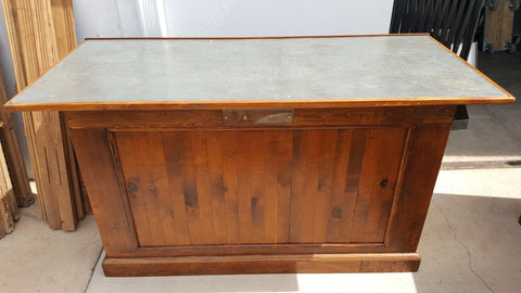 Wooden Store Counter with Galvanized Top