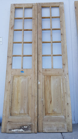 Pair of 10 Panel Wood and Glass French Doors