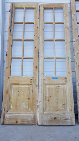 Pair of 8 Panel Wood and Glass French Doors