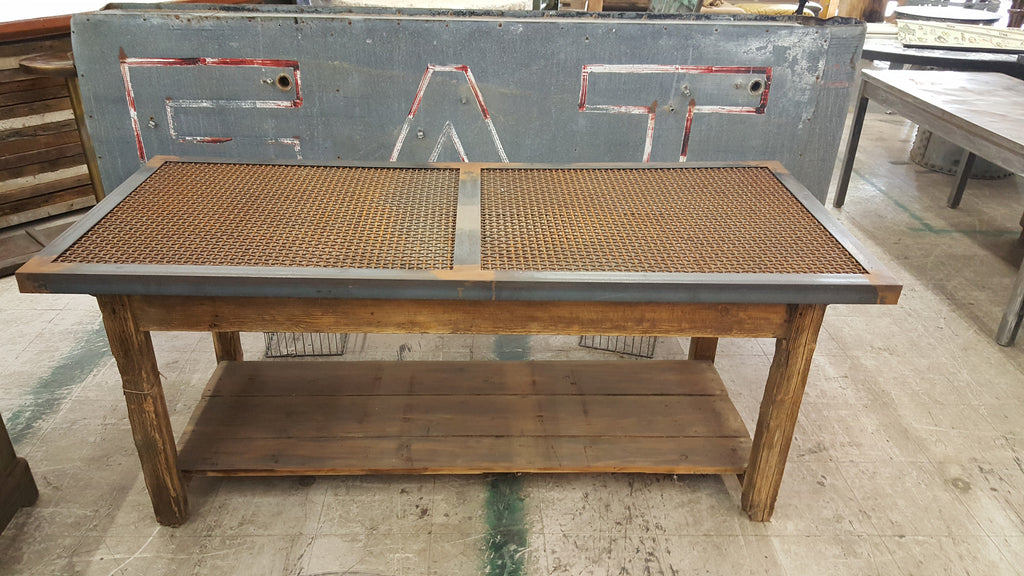Wooden Table with Mesh Iron Top