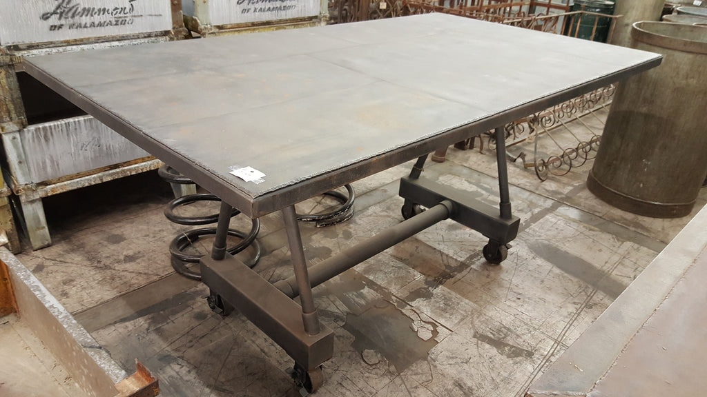 All Metal Industrial Table on Wheels