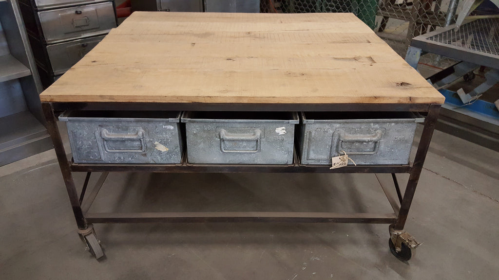 Industrial Coffee Table with 6 Drawers