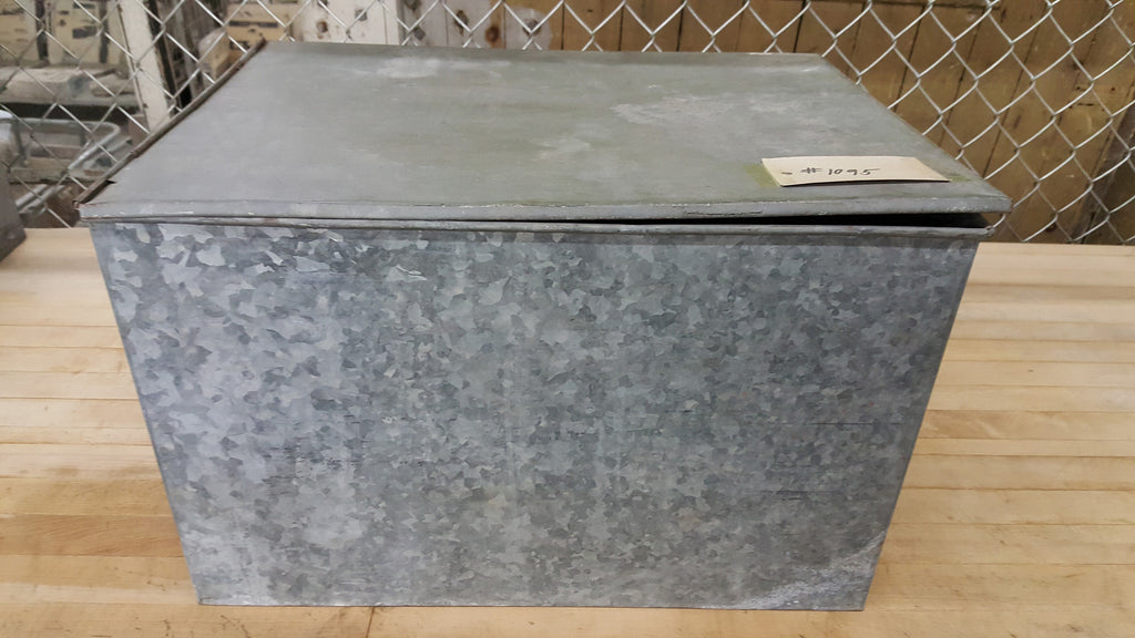 Galvanized Metal Box with Hinged Lid