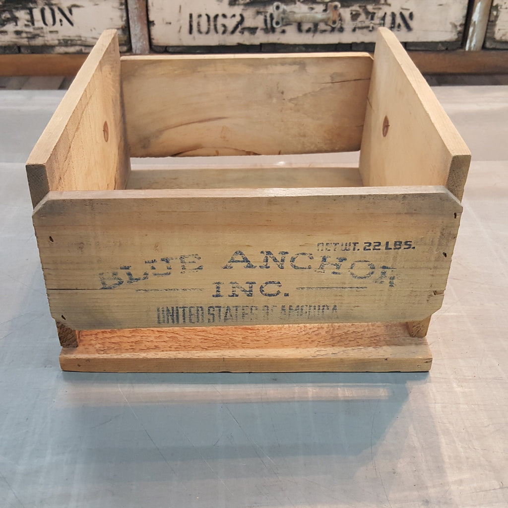 """Blue Anchor"" Wood Crate"