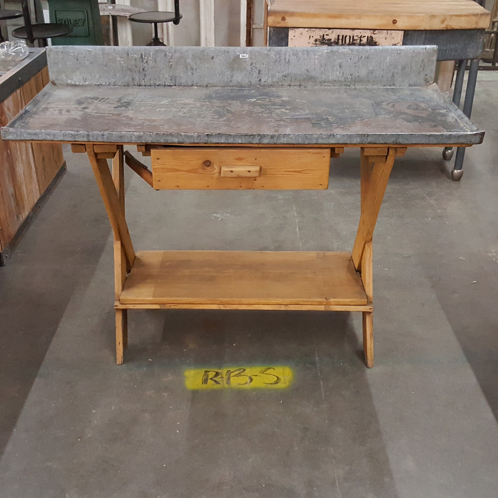 Galvanized Top Potting Table