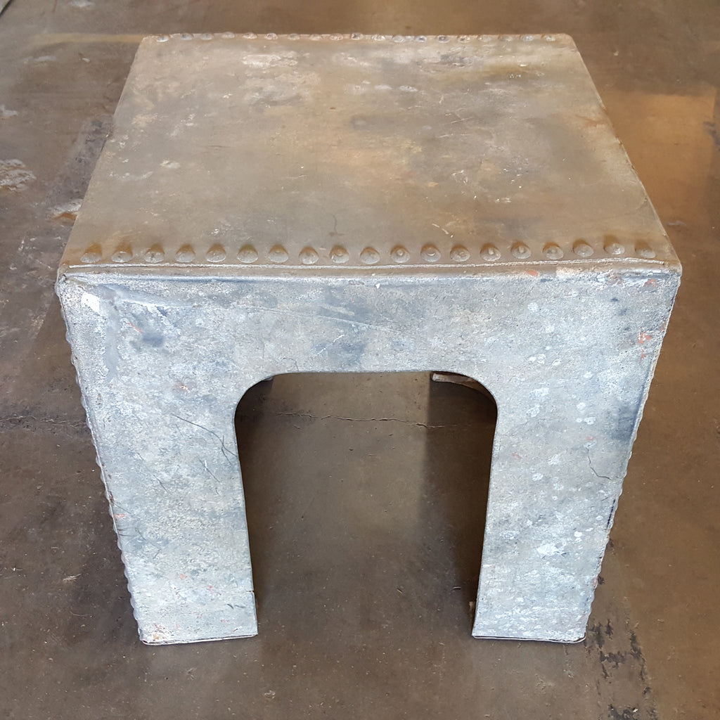 Galvanized Side Table with Heavy Riveting