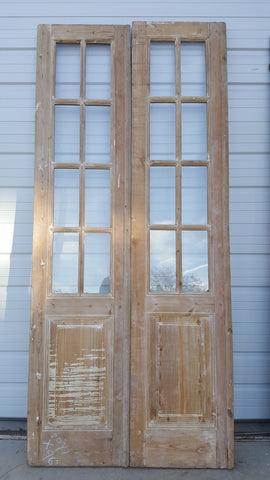 8 Panel Wood and Glass French Doors