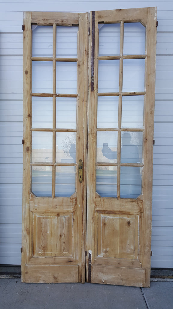 Pair Of Wooden French Doors With 10 Glass Panes Antiquities Warehouse