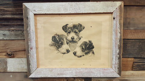 Barn Wood Framed Dog Picture