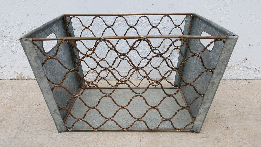 Zinc Basket with Cut Out Sides