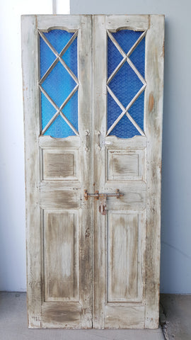 Pair of Wooden Doors with Blue Diamond Glass Panes