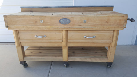 2 Drawer Natural Wood Butcher Block Island Table