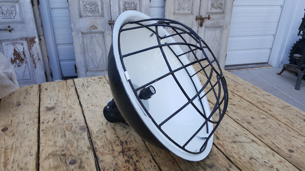 Industrial Black Iron Caged Pendant Light