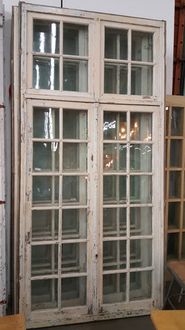 32 Pane White Wood French Window with Transom
