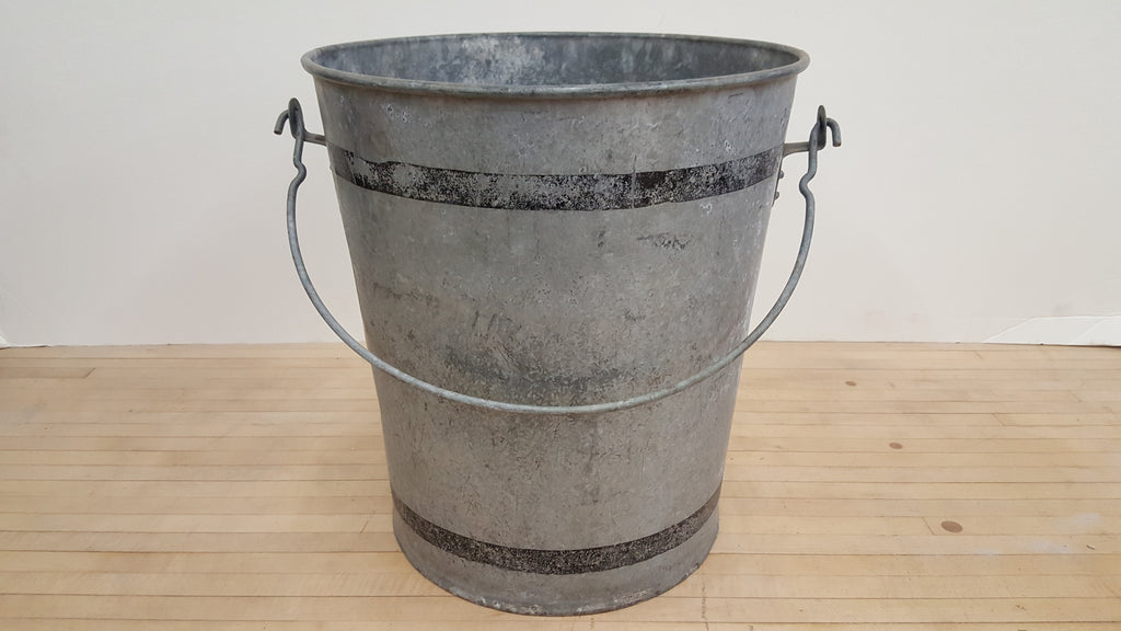 Galvanized Bucket with Black Rings