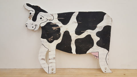 Black and White Cow Folk Art