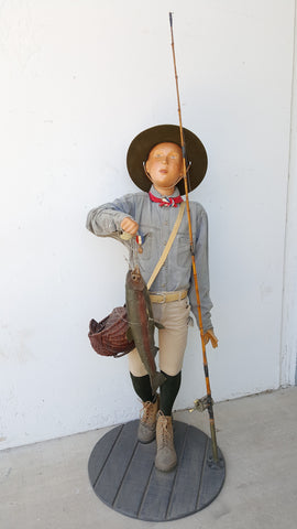 Life Size Folk Art Fishing Boy