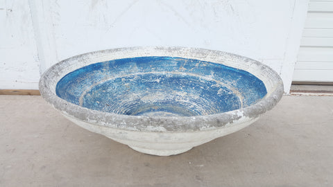 Blue French Concrete Bowl/Planter