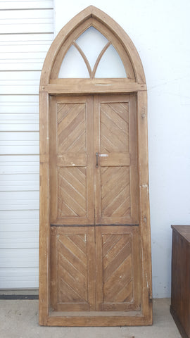 Pair of 3 Panel Natural Wood Doors with Gothic Style Transom