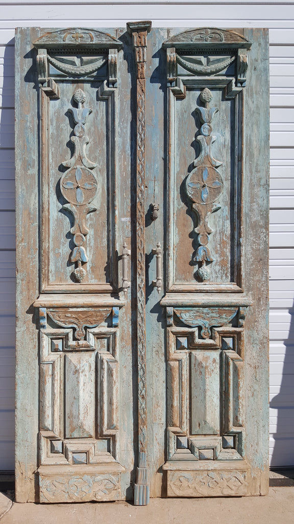 Pair of Wood Doors with Blue Paint