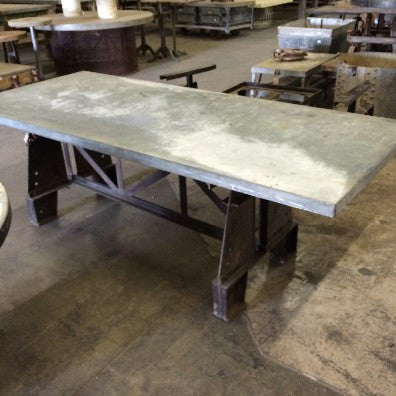 Industrial Table Base & Zinc Table Top