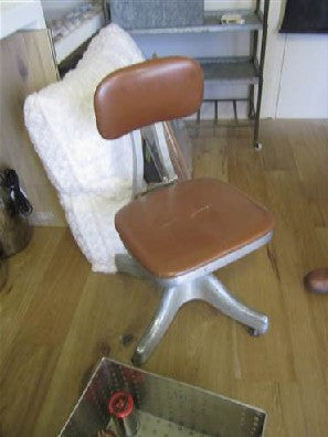 Chair, office, beige upholstery, metal from, on casters