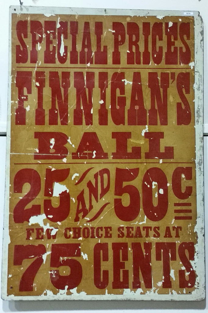 Finnigan's Ball Poster Sign on Wood