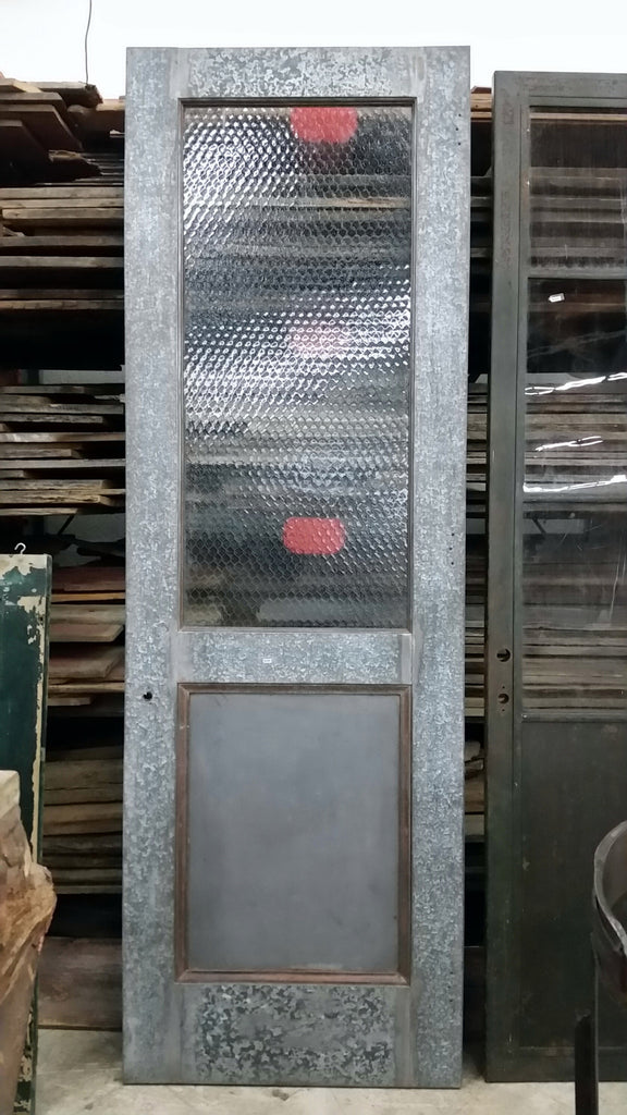 Industrial Metal Door with Chicken Wire Glass