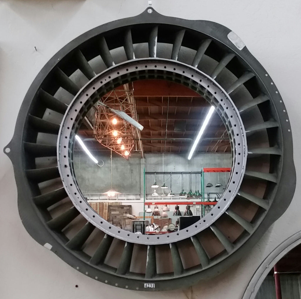 Re-Purposed Airplane Jet Engine Turbine/Ring Mirror