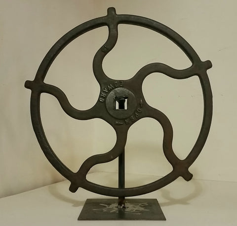Industrial Iron Gear on Stand, Decor