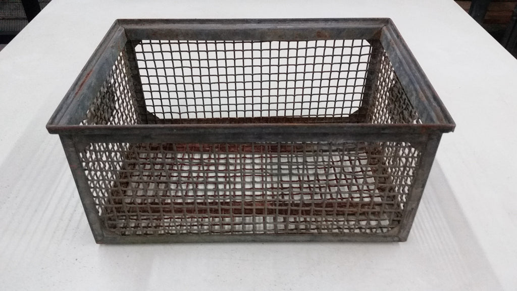 Heavy Industrial Metal Mesh Crate with Handles