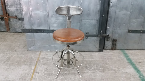 Nickle Finish Bar Stool with Back and Swiveling Leather Seat