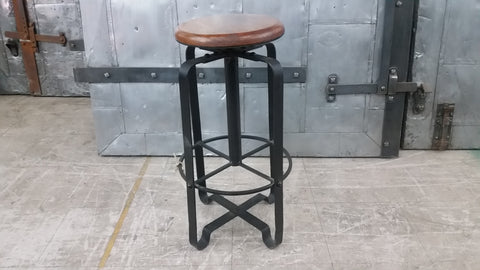 Black Iron Bar Stool with Wood Seat