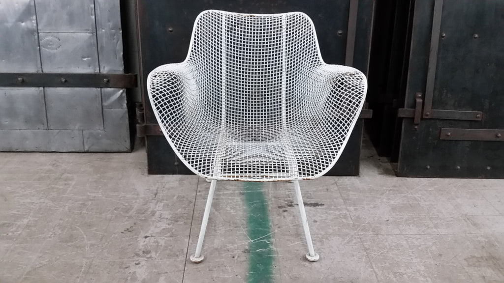 Mid Century Modern White Mesh Arm Chairs