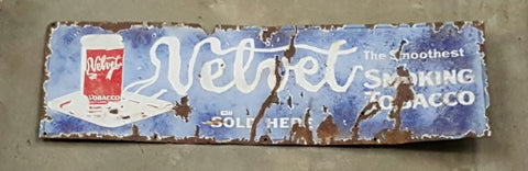 "Metal Sign ""Velvet the smoothest smoking tobaco"""