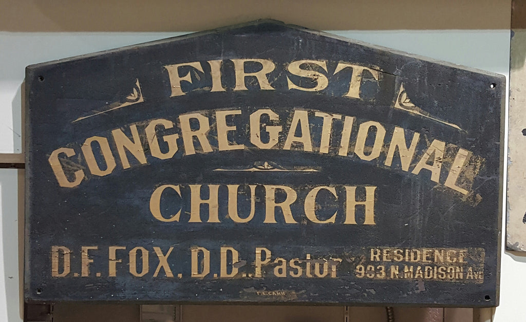 "Wood Sign ""First Congregational Church"""