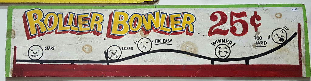 "Wood Carnival Sign, ""Roller Bowler"""