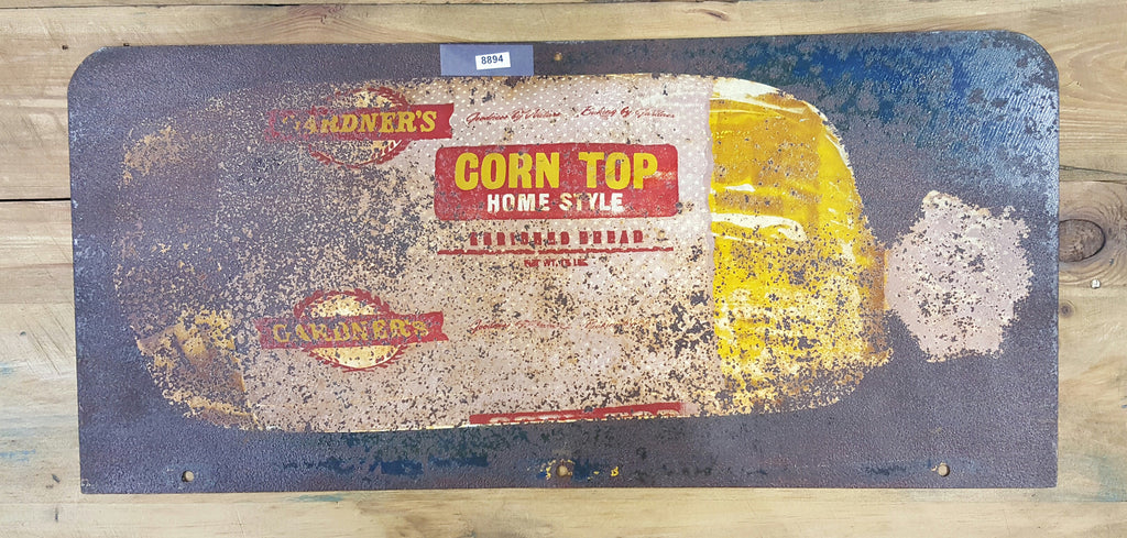"Metal Sign, ""Corn Top Bread"""