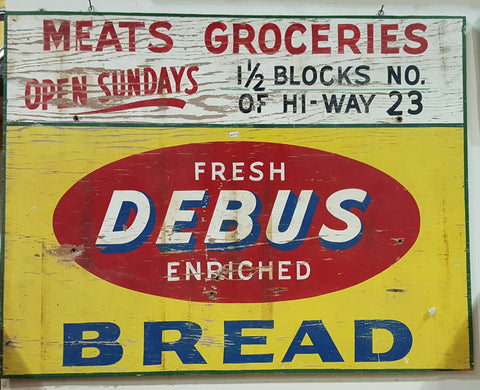 "Wood Sign ""Fresh Debus Enriched Bread"" (Restaurant)"