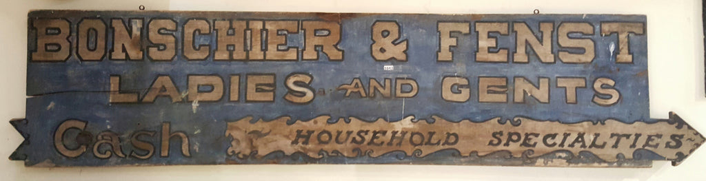 "Wood Sign, ""Bonschier & Fenst Ladies & Gents Household Specialties"""