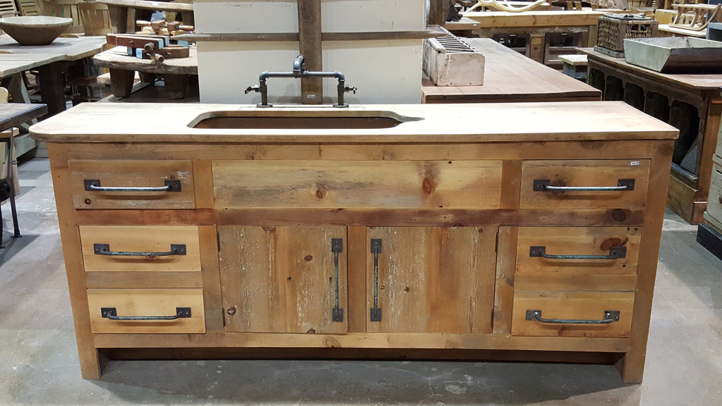 Wood Cabinet with Copper Sink and Reclaimed Wood Top