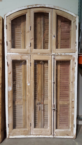 9 Pane Arched Natural Wood Window and Shutter Set