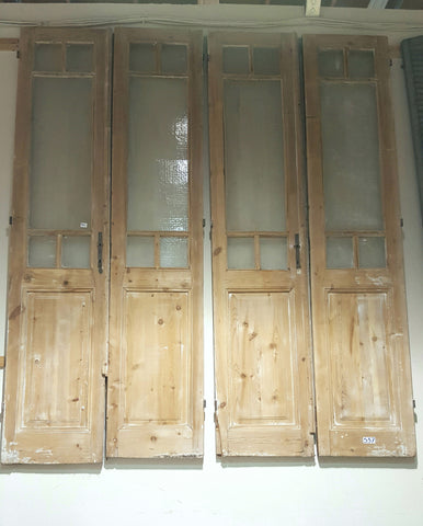 2 Pair of 5-Pane Glass French Doors