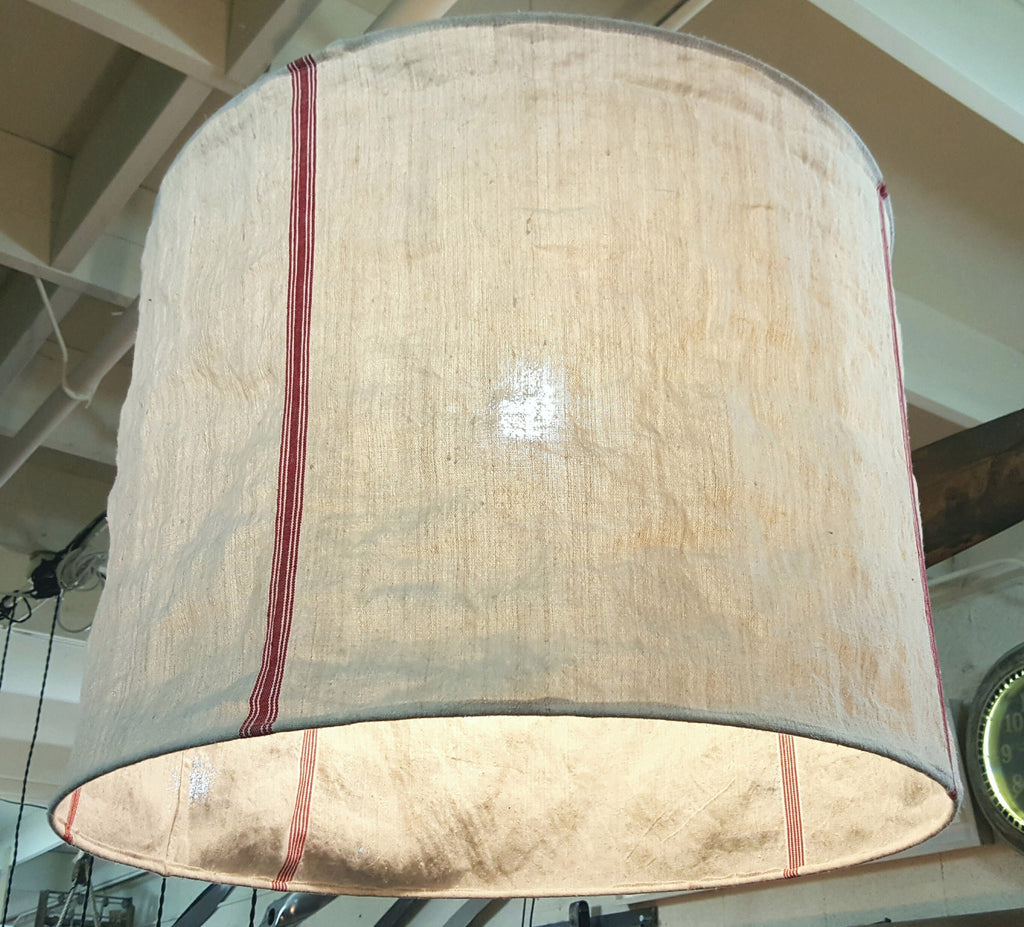 Round french grain sack lamp shade antiquities warehouse round french grain sack lamp shade aloadofball Image collections