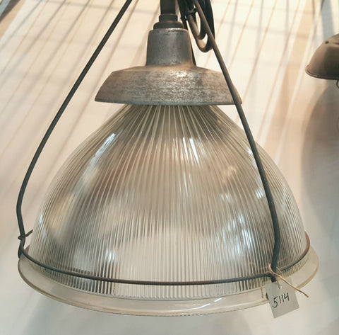 Vintage Industrial Holophane Glass Pendant Warehouse Light