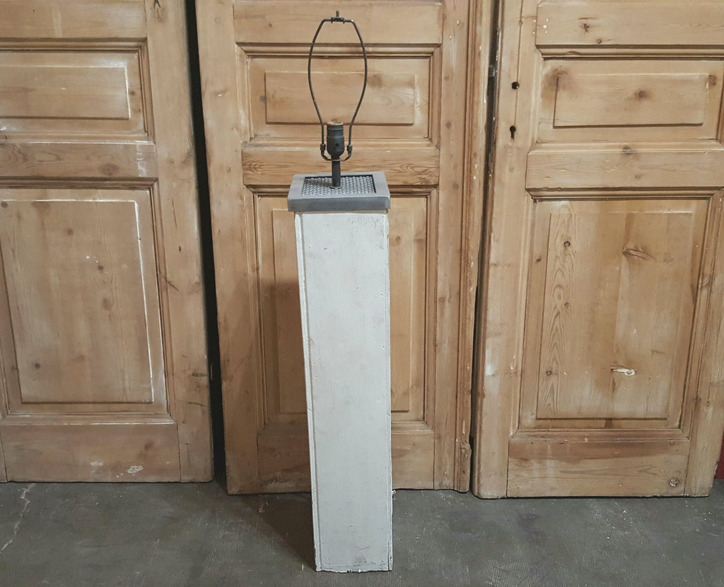 Repurposed White Rectangular Column Floor Lamp