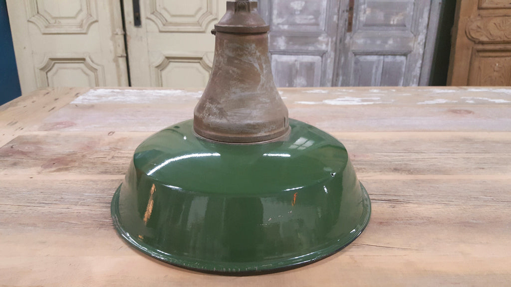 Light (Tall) green shade, metal with ceramic coat