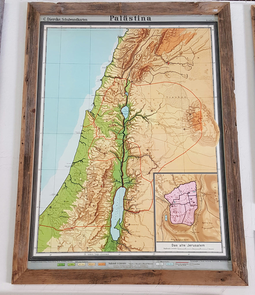 Barn Wood Framed Palestine Map