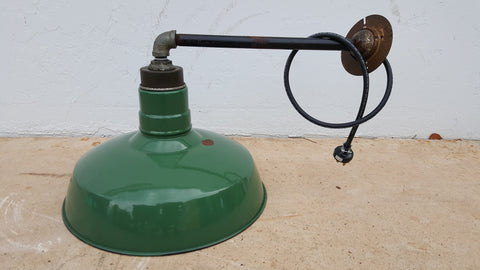 Industrial Green Enamel Pendant Light